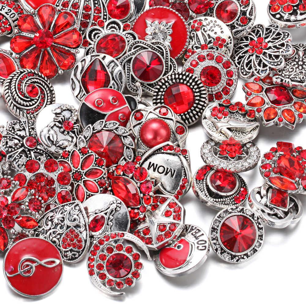 10 ชิ้น/ล็อตขายส่ง Snap 18 มม.ปุ่ม Snap สีม่วงผสม Rhinestone ดอกไม้โลหะ Snaps ปุ่มสำหรับสร้อยข้อมือกำไลข้อมือ