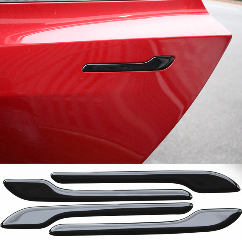 For Tesla Model 3 Car Door Handle Wrap Set Colored Protector Stickers Door Handle 3D PU Decal For Tesla Accessories