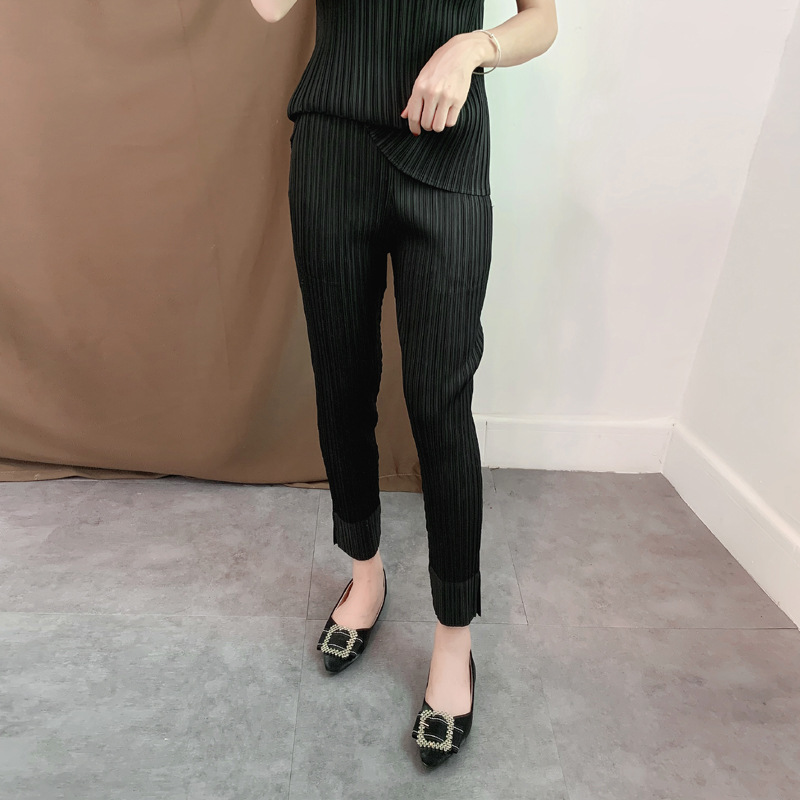 LANMREM spring summer new fold Directly Cuffless Trousers Vent Hem Ankle-Length Pants casual pleated bottoms Woman Tide YH712