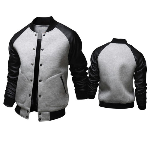 Cool College Baseball Jacket Men 2017 Fashion Design Black Pu Leather Sleeve Men