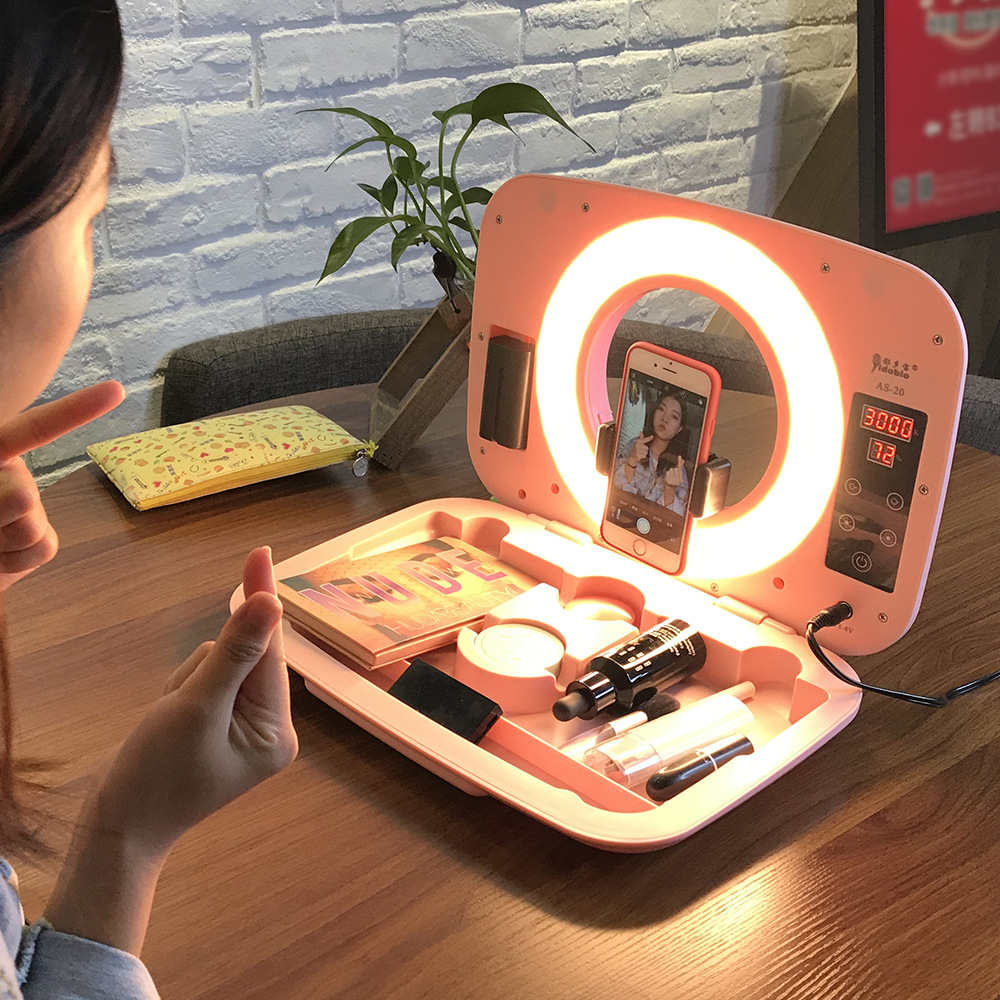 Desktop stand mobile phone fill light for Cosmetics Case Storage Drawer with HD Mirror and LED Fill Light