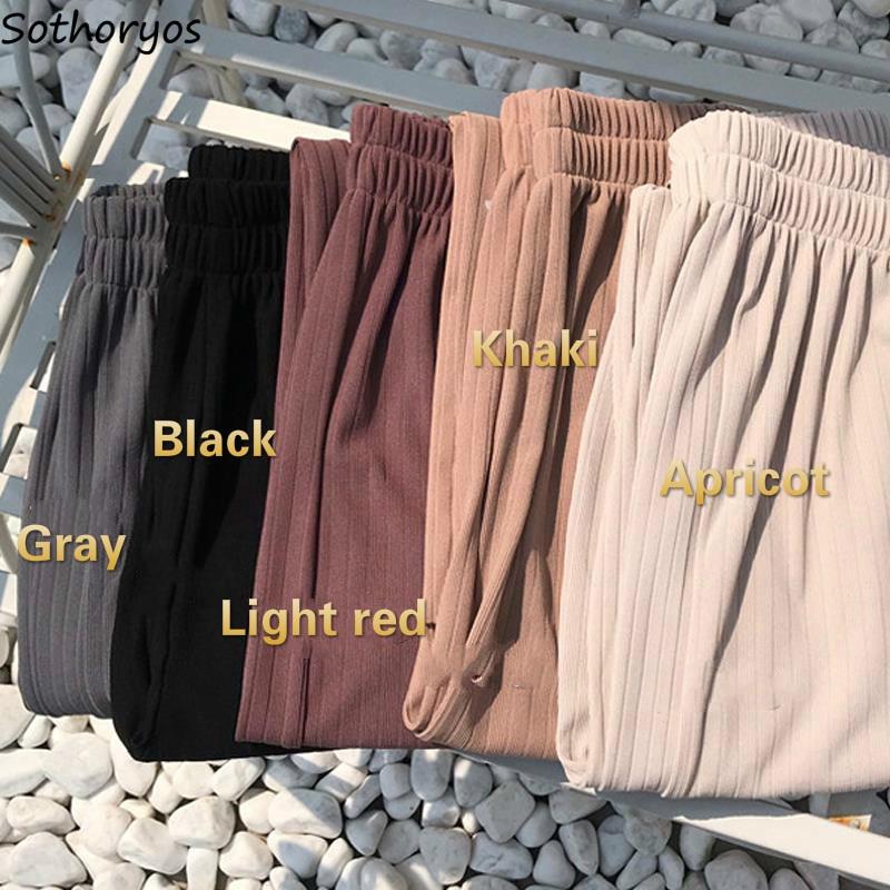 Женские повседневные Элегантные широкие брюки с высокой эластичной талией в Корейском стиле; женские брюки; Модные Удобные Свободные дышащие брюки для студентов|Брюки |   | АлиЭкспресс