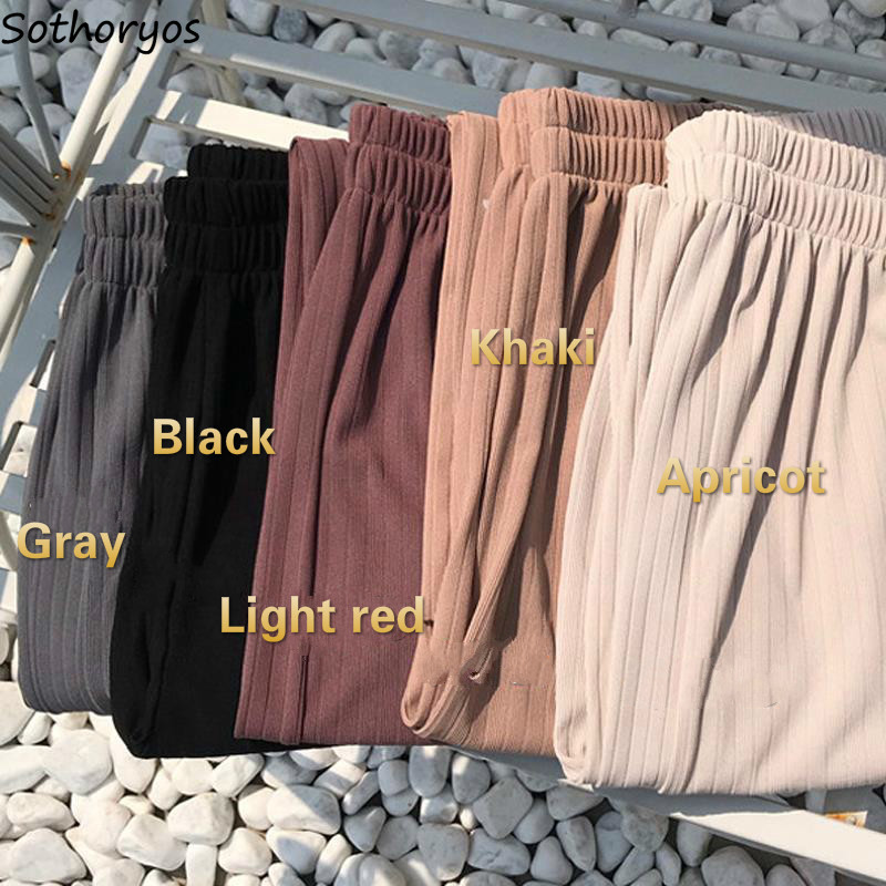 Pants Women Casual Elegant Wide Leg High Elastic Waist Korean Style Womens Trousers Trendy Comfortable Loose Breathable Students