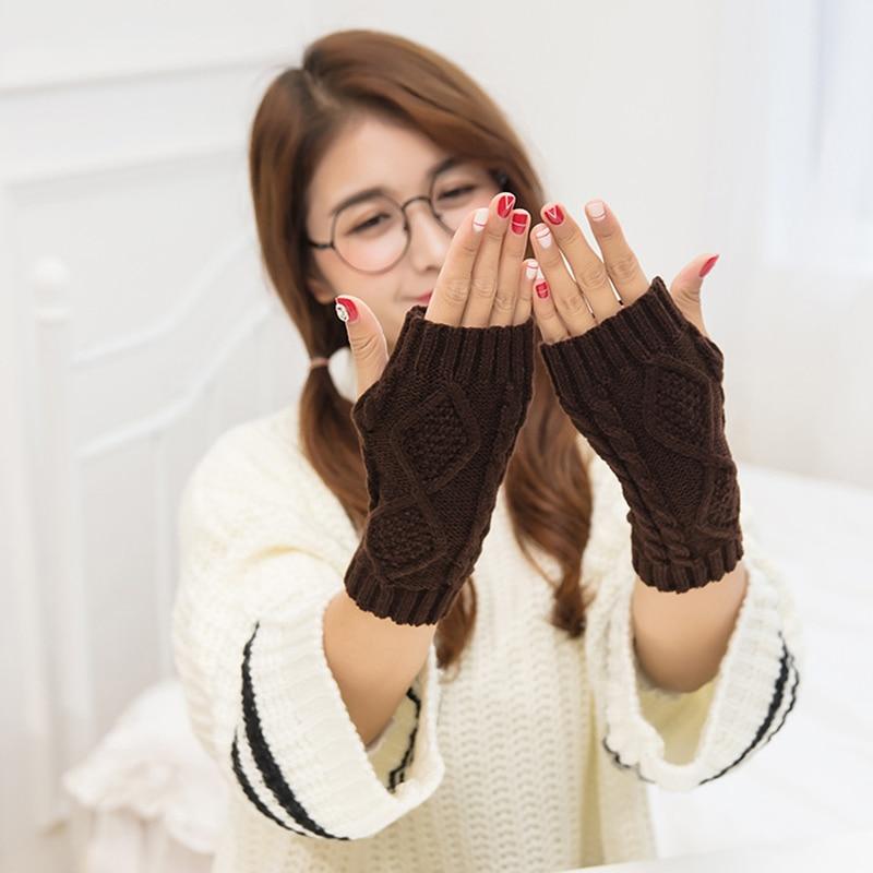 1 Pair Winter Rhombic Knitted Fingerless Gloves Fashion Arm Warmer Mitten Knitting Faux Gloves Gants Femme Unisex