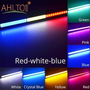 DRL 17cm 1/2Row Blue Green White Car COB Driving Fog lamp Double Daytime Running Lights Auto Waterproof Update Ultra Bright LEDS