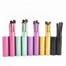 5 pçs viagem portátil mini pincéis de maquiagem dos olhos conjunto real eyeshadow eyeliner sobrancelha escova lábio compõem escovas kit profissional