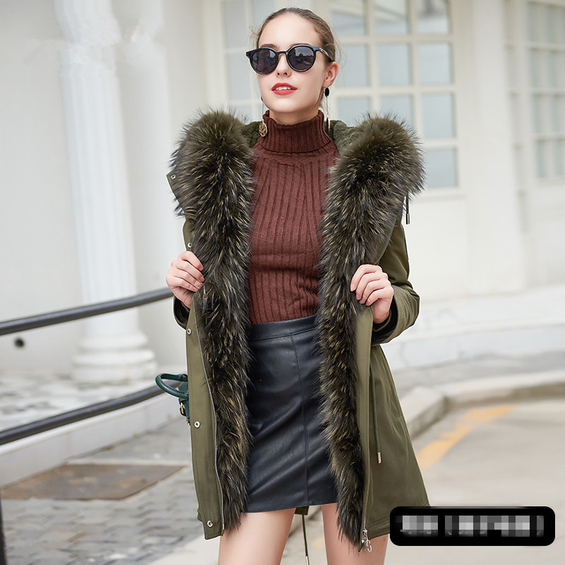 Fur Real Coat Female Natural Rabbit Fur Liner Parka Winter Jacket Women Fox Fur Collar Long Jackets Warm Overcoat MY4026 S