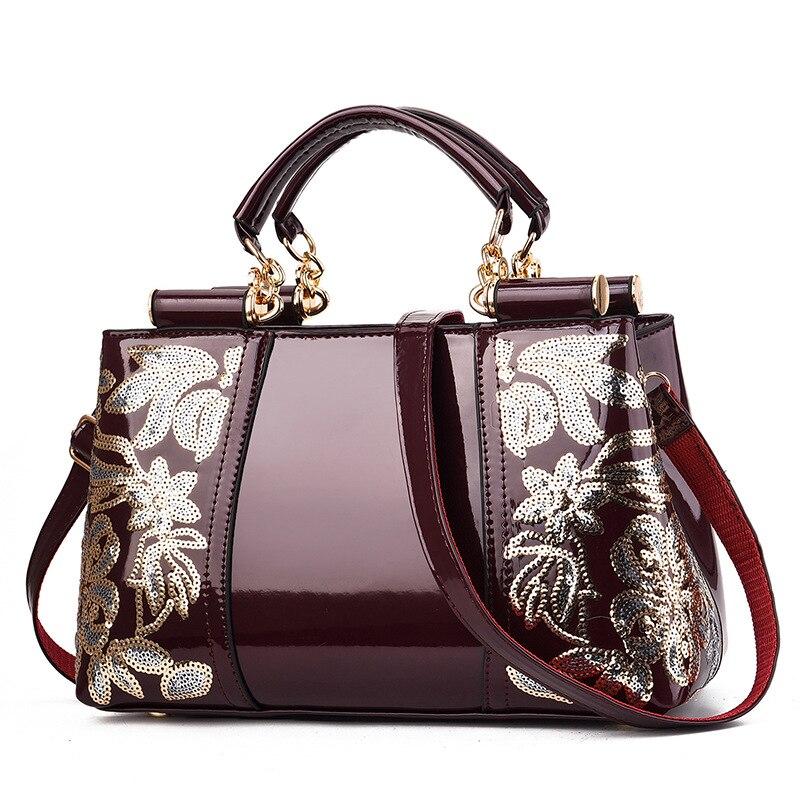 New Patent Leather Shiny Women Bag Fashion Luxury Design Atmospheric Handbag Large Capacity Women's Shoulder Messenger Bag