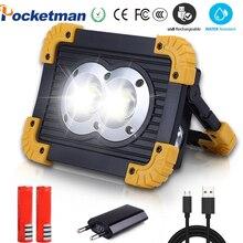 Güç COB çalışma lambası USB LED taşınabilir fener süper parlak su geçirmez 4 Mode acil spot projektör kamp için yürüyüş çalışma