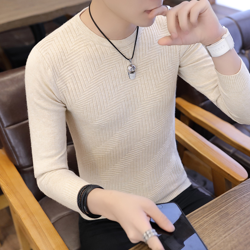 New Autumn Men Sweater O-Neck Mens Pullover Sweater Male Coat Solid Color Man Sweaters Pull Clothes Long Sleeve Twill Homme C241