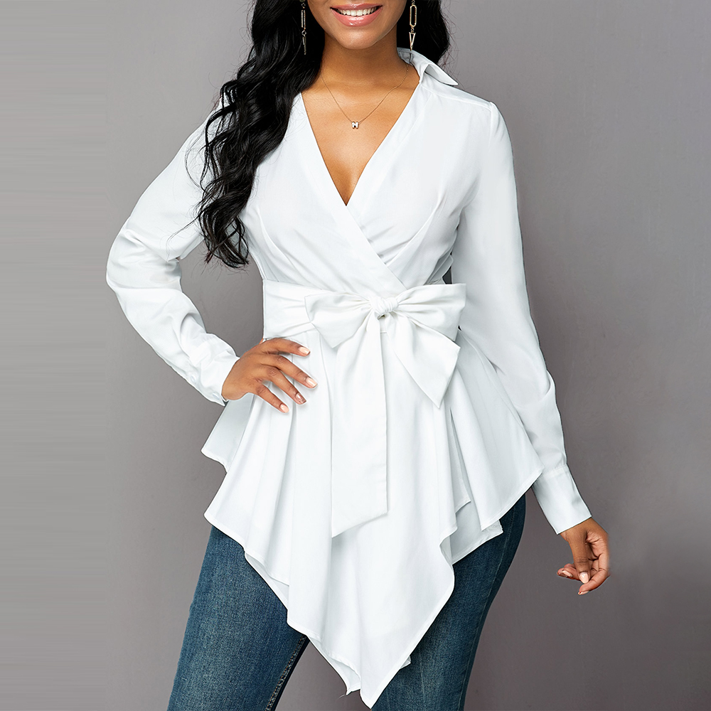 Wome Blouse And Tops Autumn White V Neck Shirt Asymmetrical Hem Sashes Blouses Fashion Office Ladies Shirt Solid Blusas 2019 D30