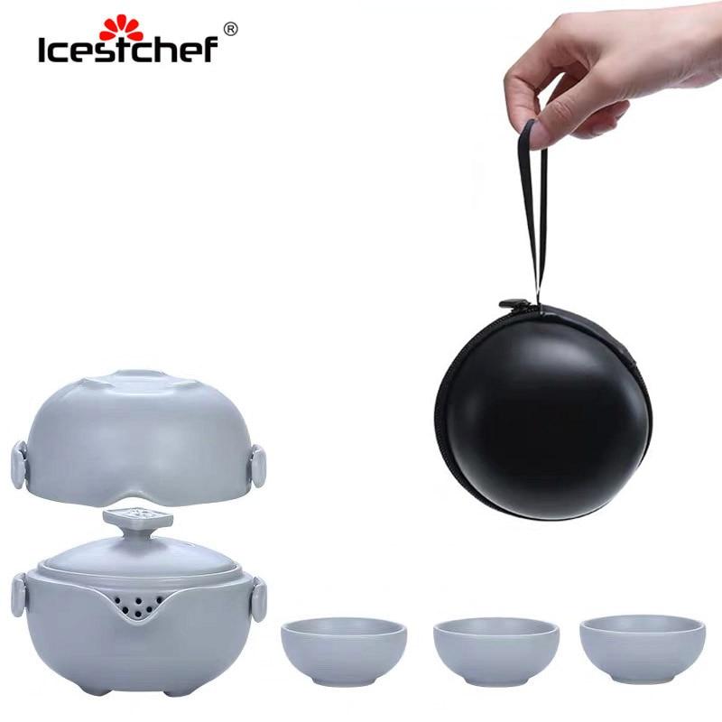 ICESTCHEF Portable Travel Tea Set Gaiwan Ceramics Kungfu Teaware Container With Bag Heat-resistant Filter Drinkware