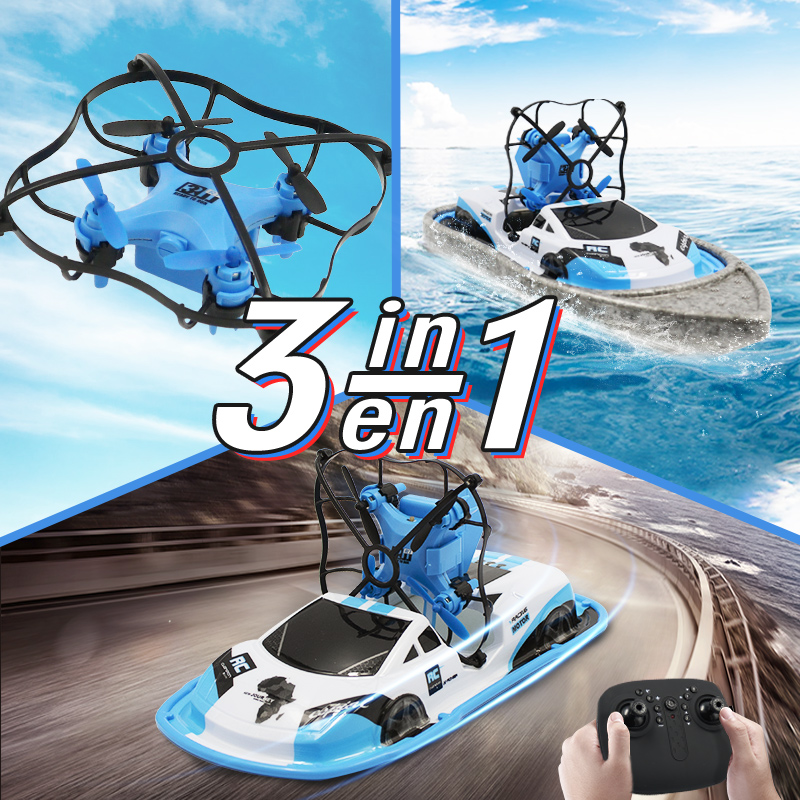 3 In 1 RC Drone Boat Car Water Ground Air Mode Three Modes Headless Mode Altitude Hold RC Helicopters Toys For Kids