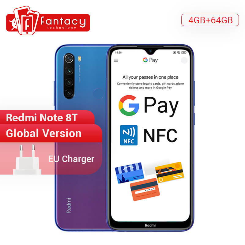 In Stock New Global Version Redmi Note 8T 4GB RAM 64GB ROM Snapdragon 665 Octa Core 6.3' FHD+ 48MP QuadCamera 4000mAh 18W NFC