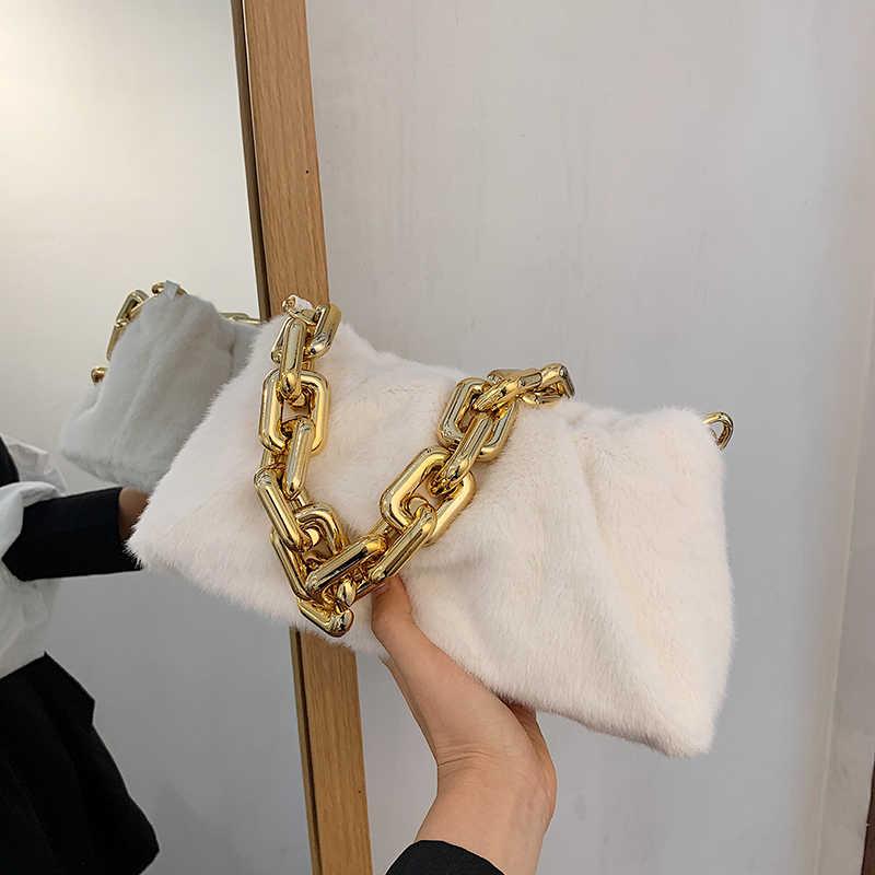 Сумка для подмышек с цепочкой YL, новинка зимы 2020, модная Высококачественная мягкая плюшевая женская дизайнерская сумка, дорожная сумка-тоут через плечо