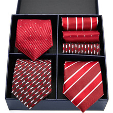 Classic design Red tie set silk men 7.5 cm 3type dot paisley striped gift box & handkerchief GL-18