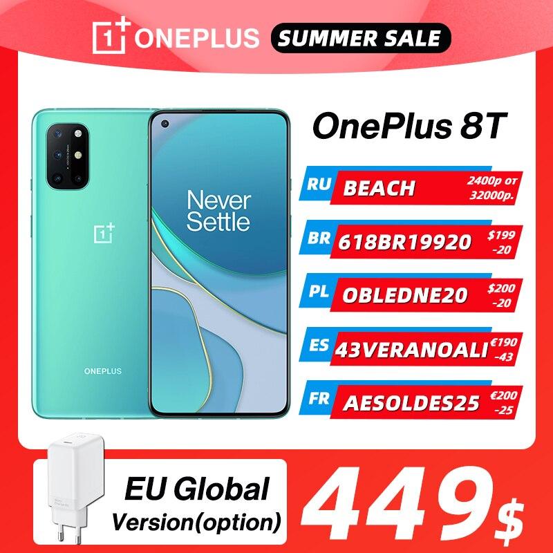 OnePlus 8T 8 T Глобальный ром 8 ГБ 128 ГБ Snapdragon 865 5G Смартфон Экран 120 Гц AMOLED Fluid 48MP Quad Camera 65W Warp Charge OnePlus Official Store, код: BEACH(P32000-2400) OTPUSK(P19000-1500)