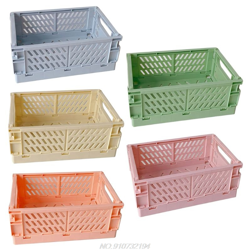 Collapsible Crate Plastic Folding Storage Box Basket Utility Cosmetic Container Desktop Holder N25 20 Dropshipping