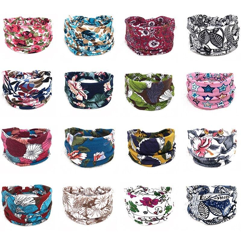 New Bohemia Women Wide Cotton Stretch Headbands Girls Leaf Pattern Printed Headpiece Headwrap Headwear Bandage Elastic Hairbands