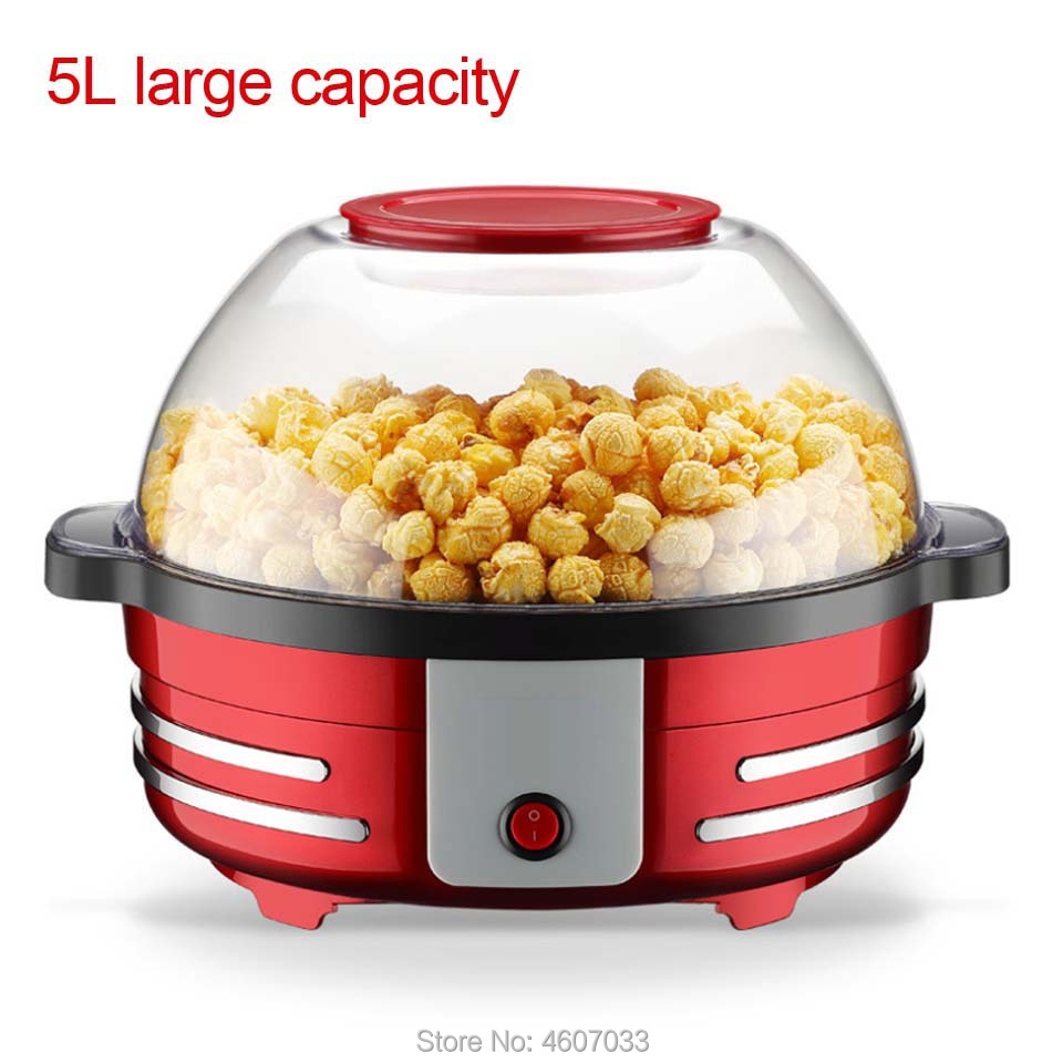 5L Large Capacity Electric Corn Popcorn Maker Household Automatic Hot Air Popcorn Making Machine DIY Corn Popper Can Barbecue