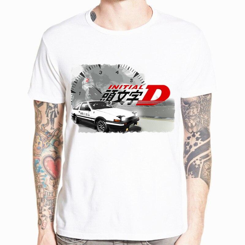 O-넥 반팔 여름 캐주얼 AE86 이니셜 D 옴므 T 셔츠 남성 프린트 드리프트 일본 애니메이션 T 셔츠 Streetwear