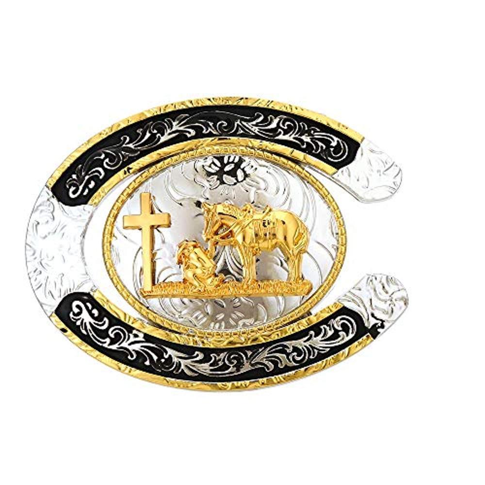 U Shape Gold Cross Pray Horse  Buckle For Man Western Cowboy Buckle Without Belt Custom Alloy Width 4cm