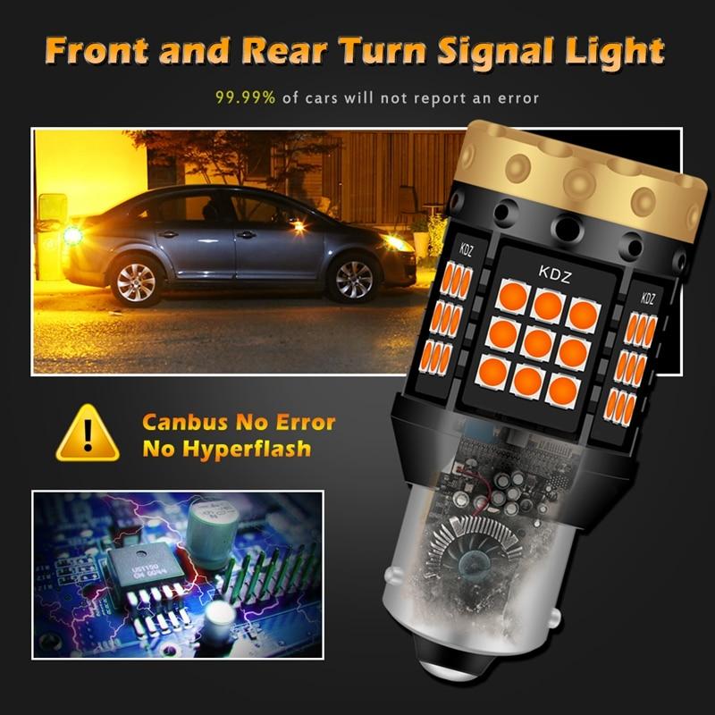 Image 2 - 2pcs NO Hyper Flash 1156 BA15S P21W BAU15S PY21W T20 7440 Led Bulb Turn Signal Light Lamps Amber Orange Canbus Error Free LedsSignal Lamp   -