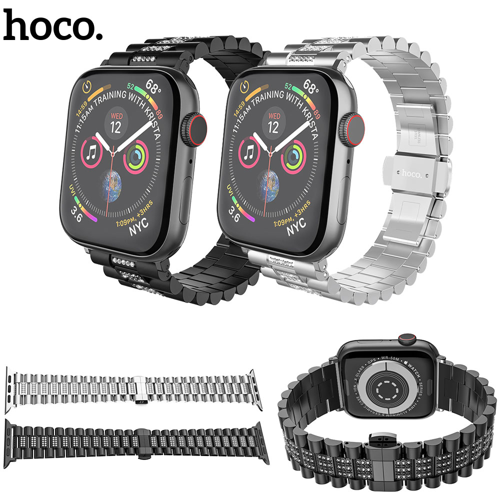 HOCO Bling Diamond Stainless Steel Strap For Apple Watch Series 1 2 3 4 Band Replace Wrist Strap For iWatch 42mm 44mm 38mm 40mm|Watchbands|   - title=