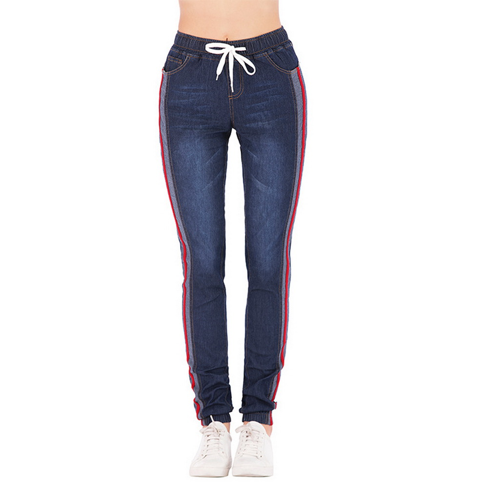 Litthing 2020 Womens Jeans High Waist Side Striped Trousers Patchwork Straight Jeans Drawstring Casual Pants Plus Size 5XL