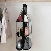 transparent 6 grid hanging organizer closet organizer hanging storage wardrobe storage for bag free shipping