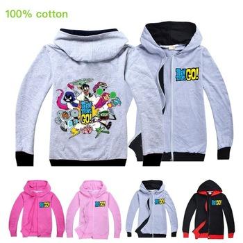 5-15Year Cartoon Teen Titans GO nadruk z dziewczyną Kid bluza z kapturem na zamek dziecko dzieci z długim rękawem bluza w stylu Casual topy płaszcz zewnętrzny ubrania tanie i dobre opinie CN (pochodzenie) Kurtki hoodies anime Unisex tops Headgear hoodies zipper Jackets COTTON 120cm 130cm 140cm 150cm 160cm Cartoon sports leisure tops