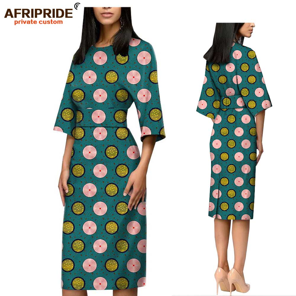 Afripride Ankara Dress for Women Tailor Made Half Sleeves Knee Length Cotton Pencil Dress A1825089