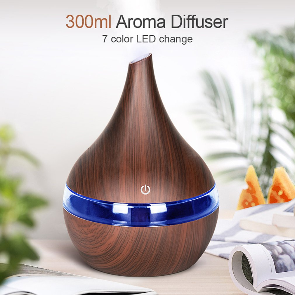 5V 300ml USB Air Humidifier Electric Aroma Air Diffuser Wood Ultrasonic Essential Oil Aromatherapy Cool Mist Maker For Home Car