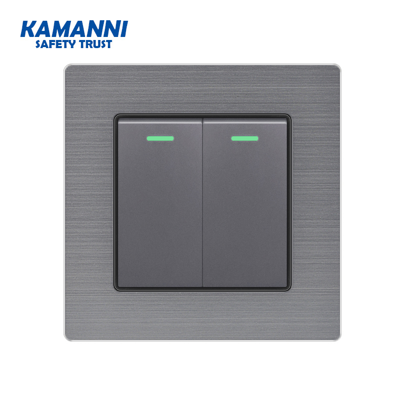 Wall Power Light Switch With Indicator Light 1 2 3 4 Gang 1 2-way Luxury Light Push Button Switches Aluminum Alloy Panel 220V