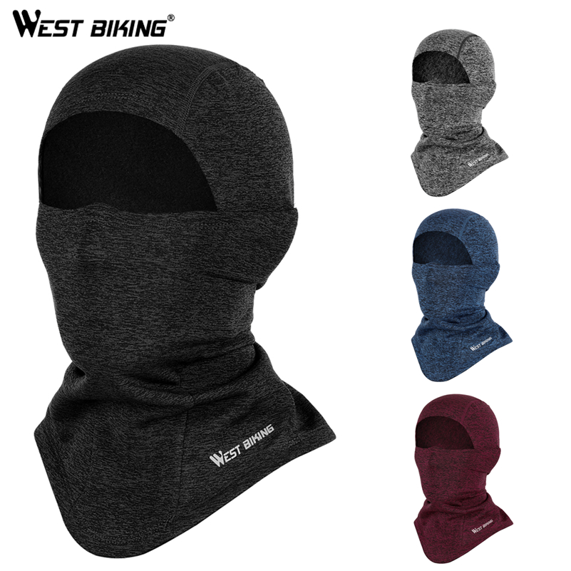 WEST BIKING Winter Cycling Cap Fleece Thermal Full Face Mask Skiing Fishing Skating Hats Headwear Warm Running Mask Hat