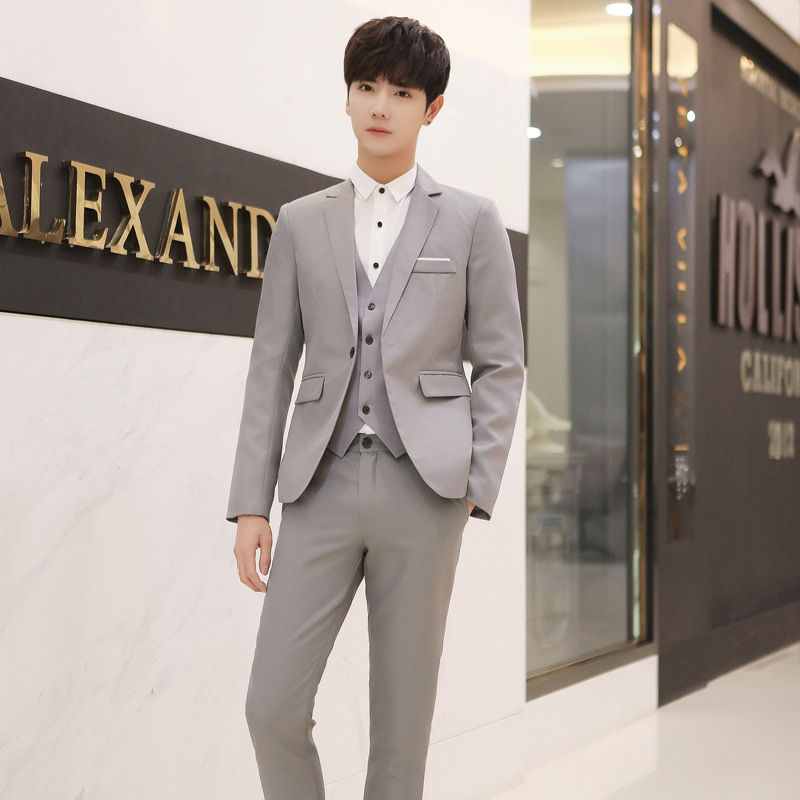 Autumn And Winter Suit Set Men's Korean-style Youth Trend Fashion Man Wedding Best Man Formal Dress Slim Fit Suit Suit Two-Piece