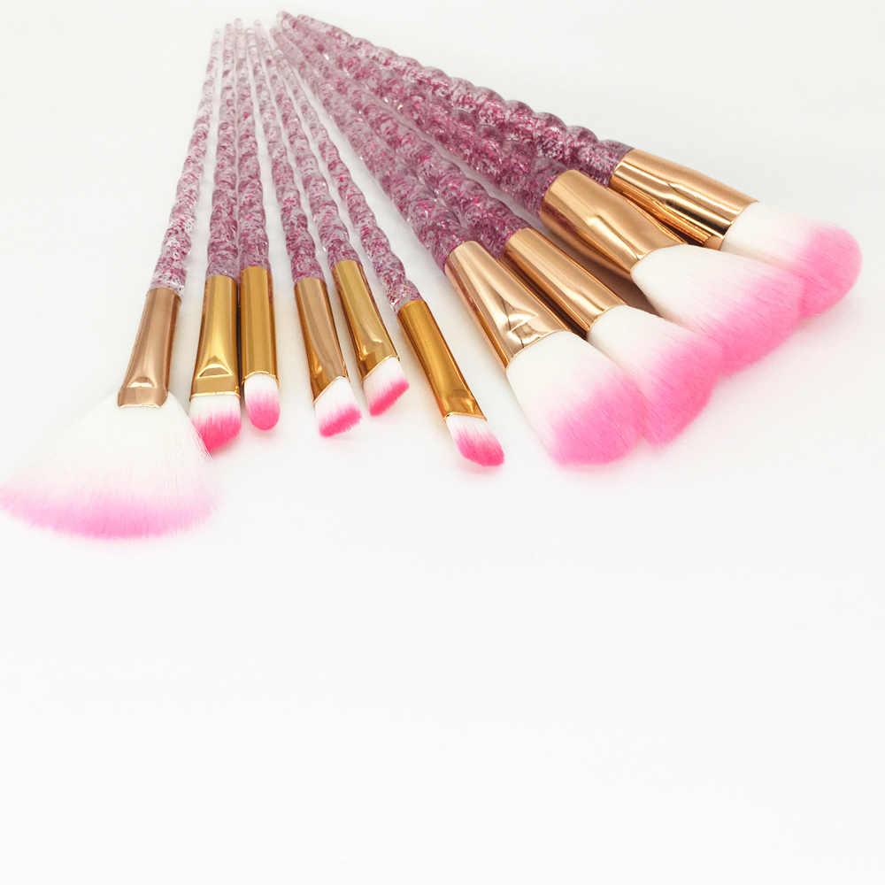 10 sztuk pędzle do makijażu z motywem jednorożca zestaw diamentowy kryształowy uchwyt mieszania fundacja Powder Eyeshadow pędzel do brwi uroda narzędzia do makijazu