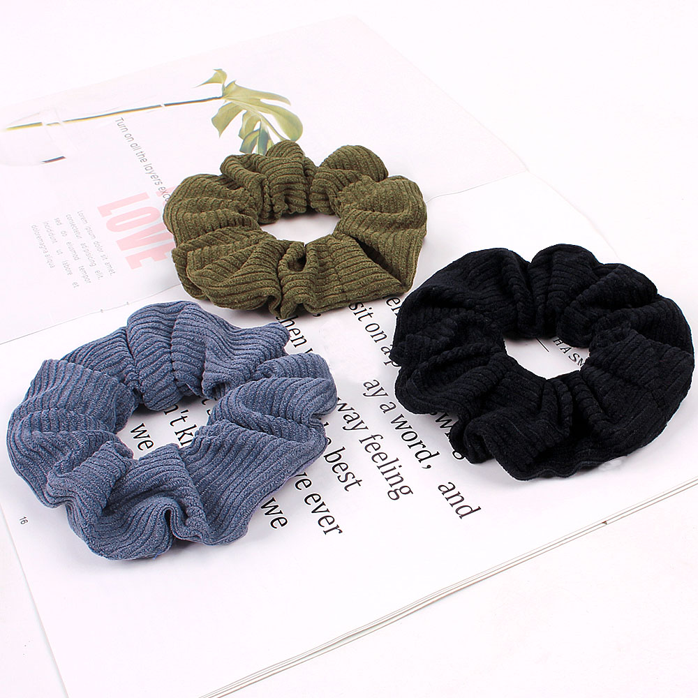 Free Shipping Basic Women Corduroy Scrunchies Girl's Hair Bands Korea Style Ponytail Holder Hair Accessories