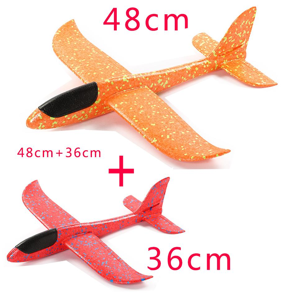 48CM Hand Throw Flying Glider Plane Foam Toy 48cm Plus36cm Big Aeroplane Model EPP Outdoor Sports Planes Fun Toys For Kids Game