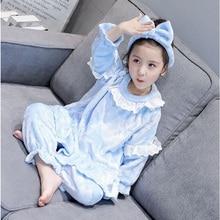 Зимний комплект кружевной пижамы для девочек головной убор с бантом+ фланелевый топ с длинными рукавами+ штаны, Осенний пижамный комплект для девочек