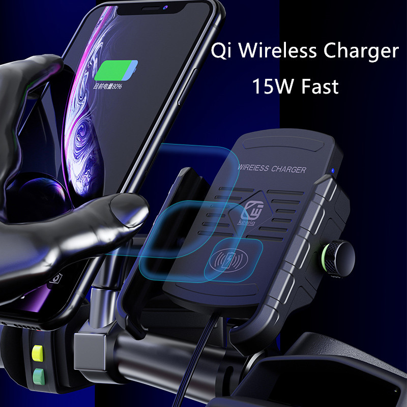 Wireless Charger Phone Holder for Smartphones iPhone 11 pro Samsung 15W Fast Qi Wireless Charger Stand Motorcycle Mobile Holder