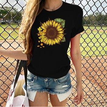 Harajuku Sunflower Print T Shirt Women Short Sleeve O Neck Loose Tshirt 2020 Summer Fashion Women Tee Shirt Tops women blouses shirt fashion chiffon short sleeve summer korean o neck loose lanteriorn sleeve women top feminine shirt 926g60