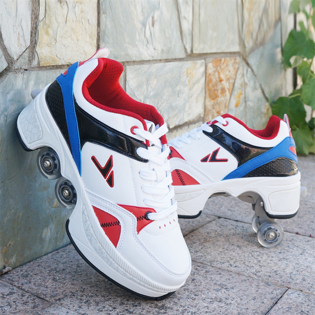 Hot Shoes Casual Sneakers Walk Roller Skates Deform Runaway Four Wheeled Skates for Adult Men Women Unisex Child 4