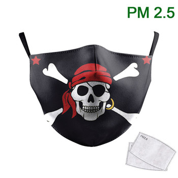Classic Black Pirate Skull Head Face Mask 3D Print Mask Half Face Mouth-Muffle Reusable PM 2.5 Protective Dust Fabric Mask майка борцовка print bar pirate skull page 2
