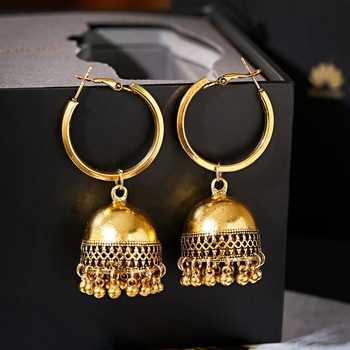Boho Ethnic Indian Earring Jhumka Handmade Gold Vintage Birdcage Bell Tassel Dangle Hanging Earrings For Women Gypsy Jewelry vintage tassel green dangle earrings pendientes hollow out boho long resin earrings for women ethnic indian jewelry e5d065
