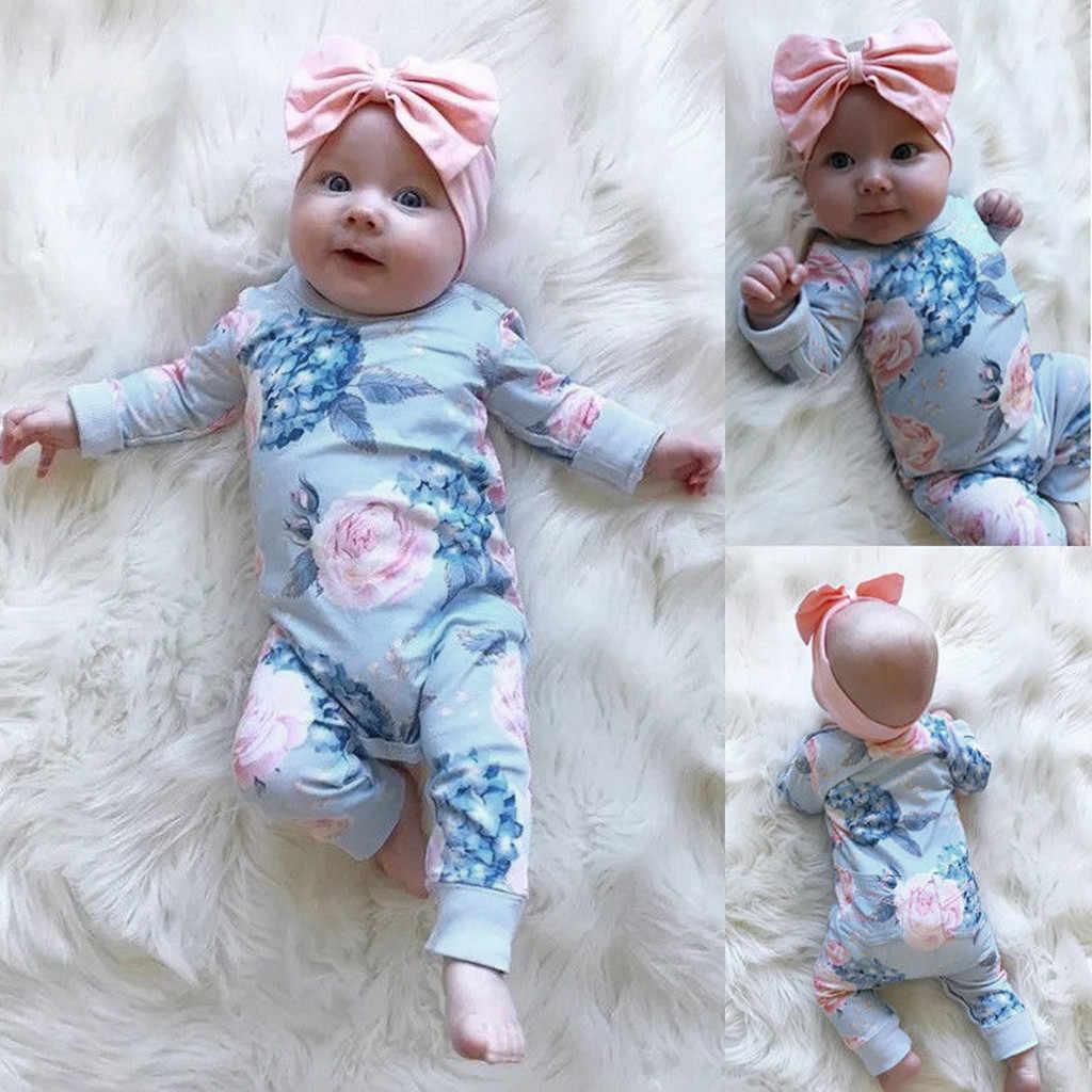Детский комбинезон для маленьких девочек; комбинезон с бантиком и лентой для волос; комплекты одежды; хлопковая одежда с цветочным принтом; комбинезон для новорожденных; Детский костюм