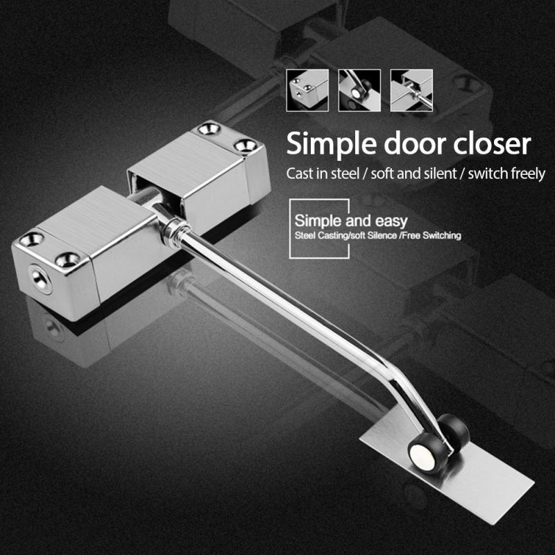 1Pc Surface Mounted Door Closer Spring Loaded Auto Door Closer Stainless Steel