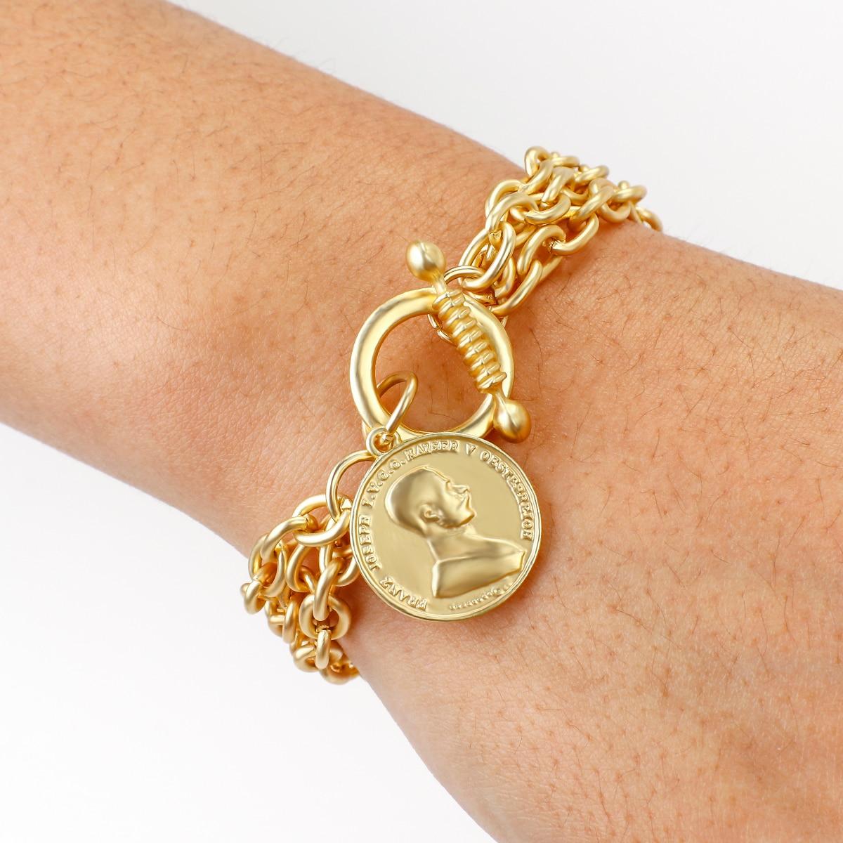 FLASHBUY braccialetti a catena con ciondoli Color oro per donna uomo ritratto in metallo braccialetti in lega di monete gioielli di moda vendita calda Pulseira 2