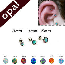 16G Stainless Steel Opal Ear Tragus Cartilage Helix Stud Piercing Body Jewelry Barbell Stud 3.4.5mm Piercing Jewelry(China)