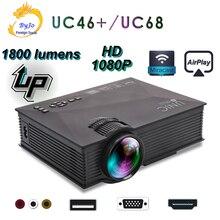 UNIC обновленный UC68 Full HD1800 люмен светодиодный проектор для домашнего кинотеатра мультимедийная поддержка Miracast Airplay USB HDMI VGA
